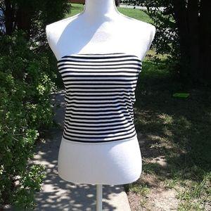 Black & White Striped Tube Top